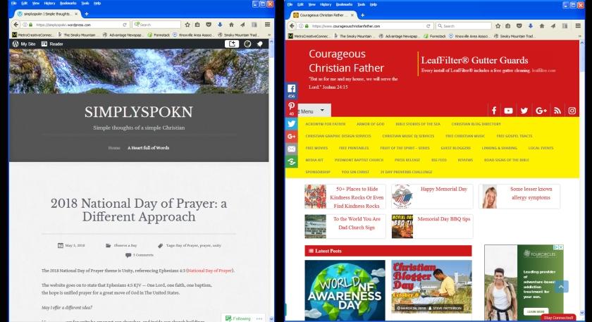 SimplySpokn & Courageous Christian Father blog screenshots