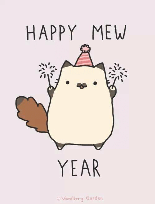 Happy Mew Year (image by Vanillery Garden)