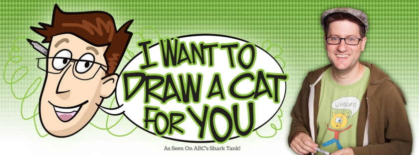 I Want to Draw a Cat For You - a cool idea of this one guy who wants to draw a cat for you. I saw him on this show called Shark Tank where he went before several investors for his business to draw cats for people. (Screenshot of website 2019)